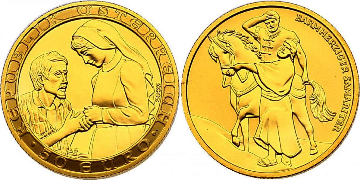 """50 Euro 2003 Österreich - II. Republik Serie """"2000 Jahre Christentum"""" - Nächstenliebe pp. im Originaletui mit Zertifikat"""