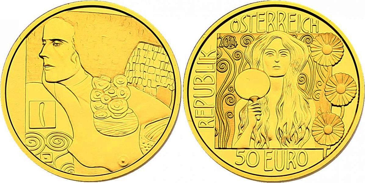 """50 Euro 2014 Österreich - II. Republik Serie """"Klimt und seine Frauen"""" - Judith II pp. im Originaletui mit Zertifikat"""
