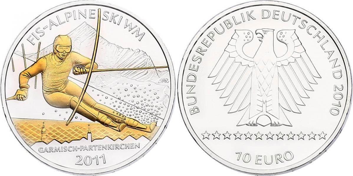 """10 Euro 2010 Deutschland """"FIS - Alpine Ski WM 2011"""" (mit Zertifikat) unc. mit Goldapplikation"""