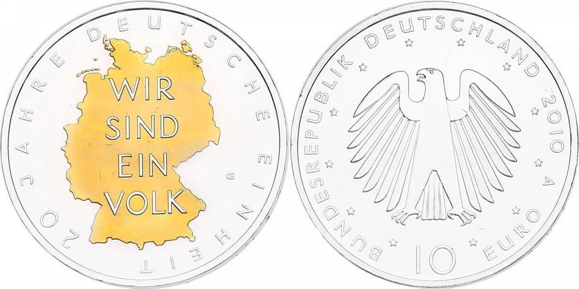 """10 Euro 2010 A Deutschland """"20 Jahre Deutsche Einheit"""" (mit Zertifikat) unc. mit Goldapplikation"""