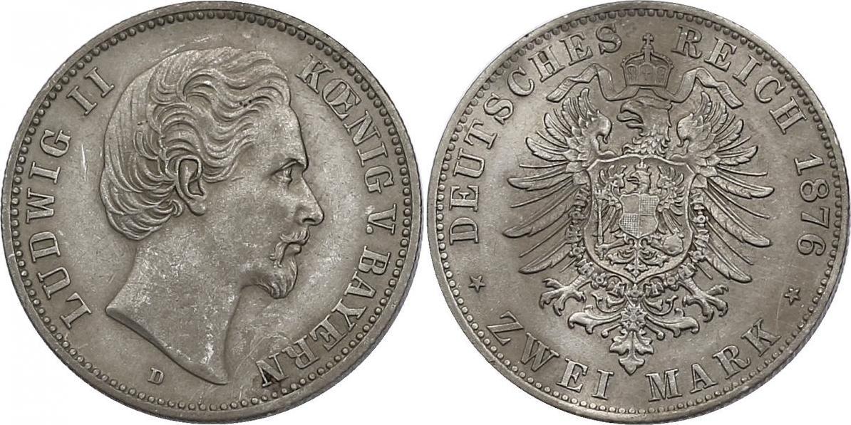 2 Mark 1876 D Deutschland - Bayern Ludwig II. (1864 -1886) f.vz.