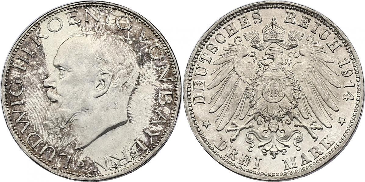 3 Mark 1914 D Deutschland - Bayern Ludwig III. (1913 - 1918) f.stgl.