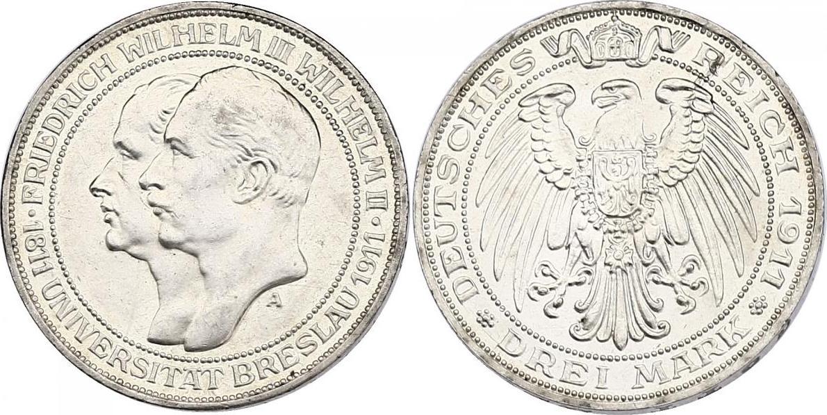 """3 Mark 1911 A Deutschland - Preussen Wilhelm II. (1888 - 1918) """"UNI Breslau"""" stgl."""