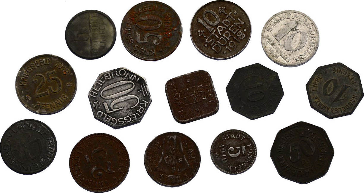 Notgeld diverse Deutschland Lot bestehend aus 14 Stk. Kleinmünzen diverser Regionen diverse