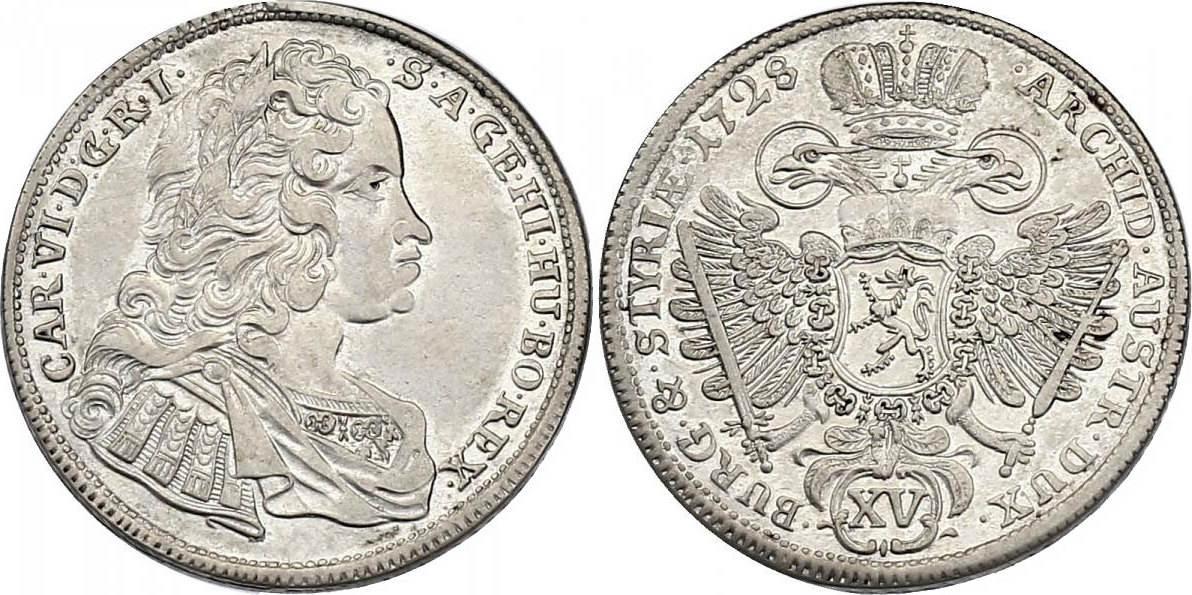 XV Kreuzer 1728 Graz RDR Karl VI. (1711 - 1740) vz