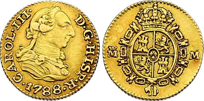 1/2 Escudo 1788 M-N Spanien Karl III. (1759 - 1788) f.vz