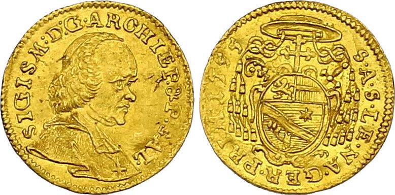 1/4 Dukat 1755 Österreich - Salzburg Sigismund von Schrattenbach (1753 - 1771) f.vz
