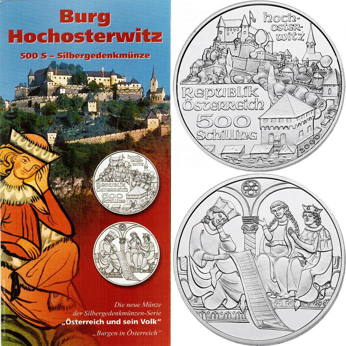 """500 Schilling 2000 Österreich - II.Republik """"Burg Hochosterwitz"""" stgl. mit Begleitfolder"""