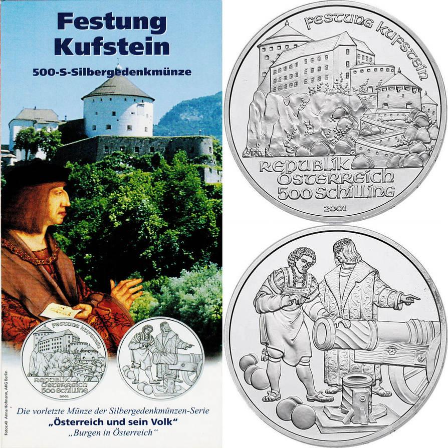 """500 Schilling 2001 Österreich - II.Republik """"Burg Kufstein"""" stgl. mit Begleitfolder"""