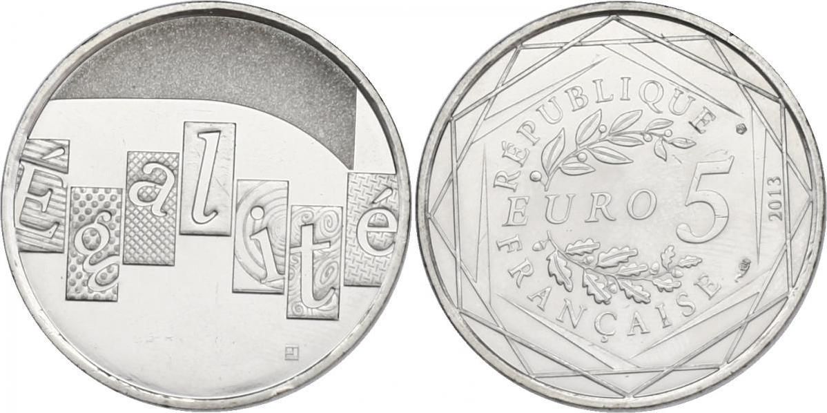 """5 Euro 2013 Frankreich """"Egalité"""" unc."""