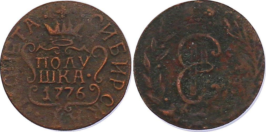 Poluschka (1/4 Kopeke) 1776KM Russland - Sibirien Katharina II. (1762 - 1796) ss