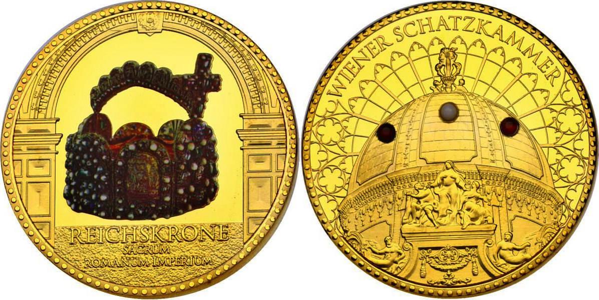"""Medaille o.J. Österreich Serie """"Wiener Schatzkammer"""" - Reichskrone (mit Edelsteineinlage) pp. vergoldet mit Farbmotiv"""