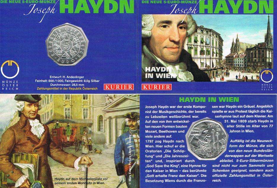 5 Euro 2009 Österreich Joseph Haydn 1782 - 1809 (KURIER - Blister) hdgh. im Blister
