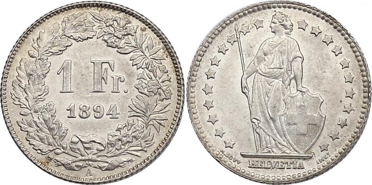 Franken 1894 A Schweiz f.stgl.