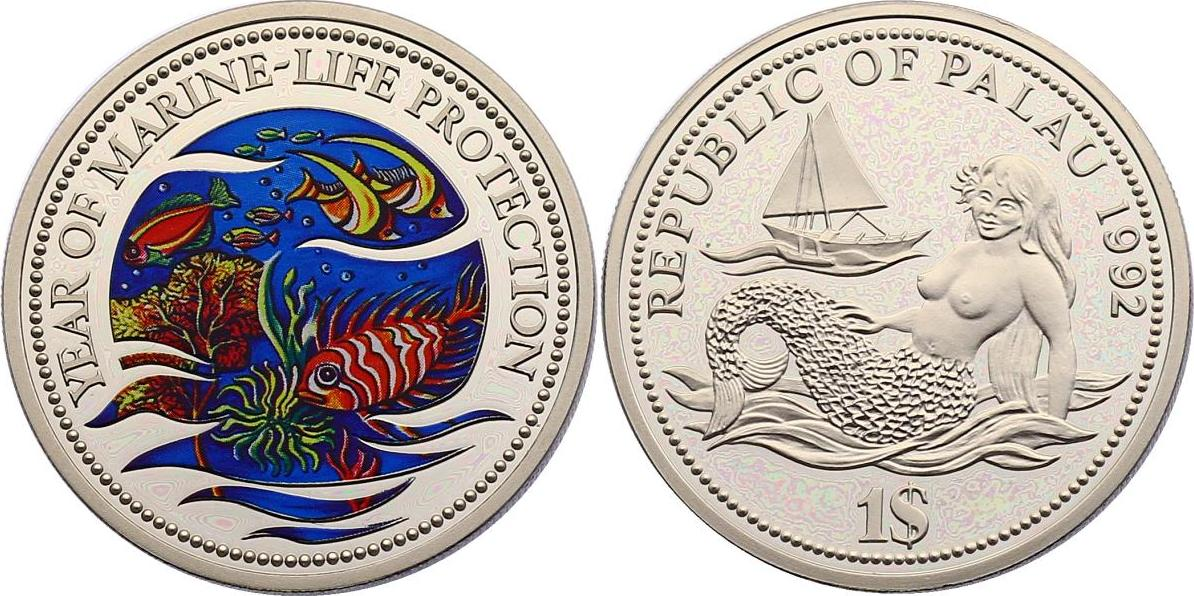 Dollar 1992 Palau Serie Year of the Marine Life Protection - Fische pp. mit Farbmotiv