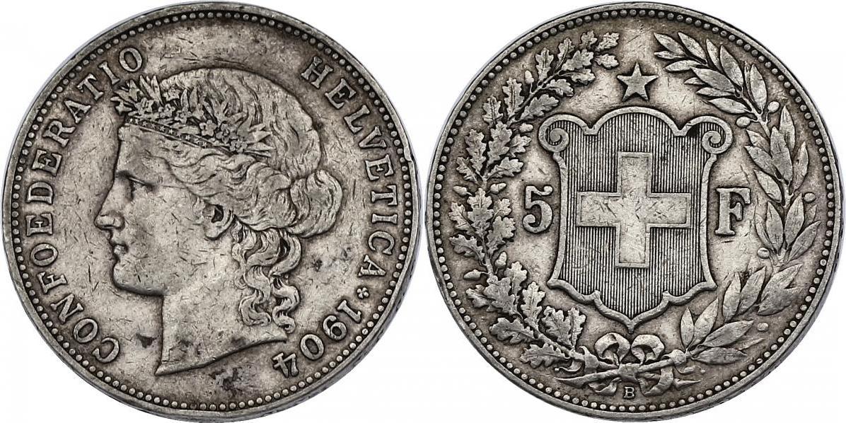 5 Franken 1904 B Schweiz ss, min. Randfehler, RR