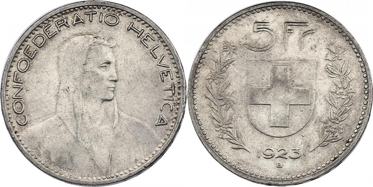 5 Franken 1923 B Schweiz ss-vz