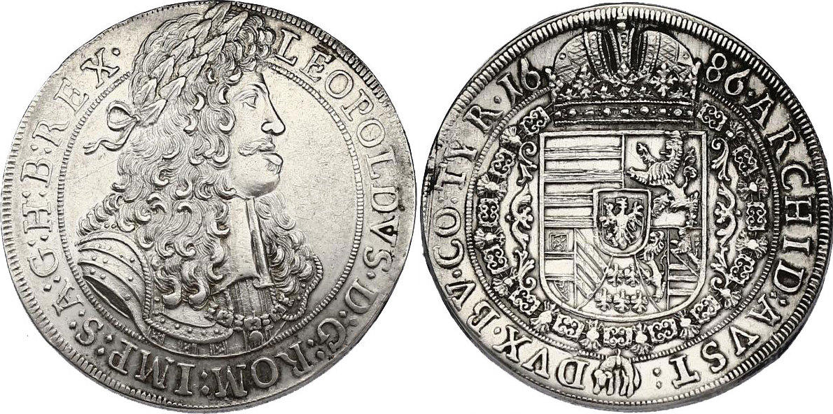 Taler 1686 Hall RDR Leopold I. (1657 - 1705) vz+