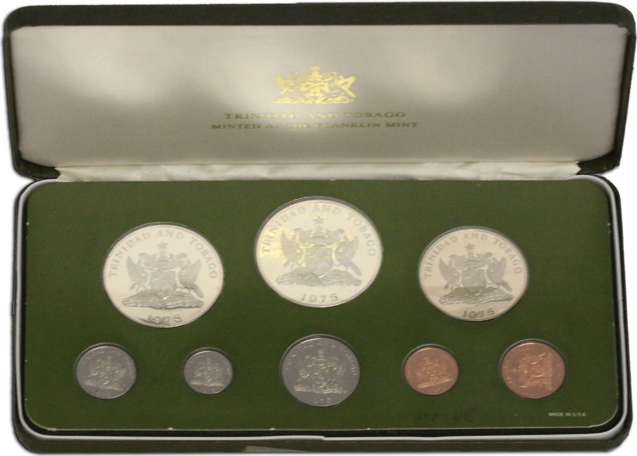 KMS (Cent - 10 Dollar) 1975 Trinidad & Tobago Offizieller Kursmünzensatz pp. im Originaletui mit Zertifikat