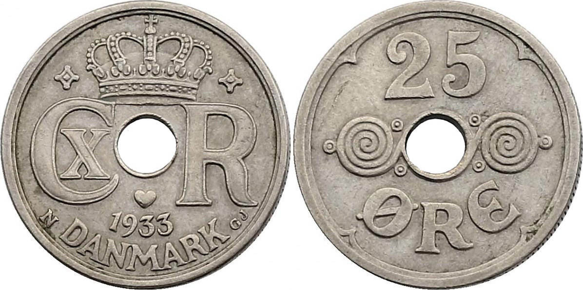 25 Öre 1933 Dänemark Christian X. (1912 - 1947) f.vz.