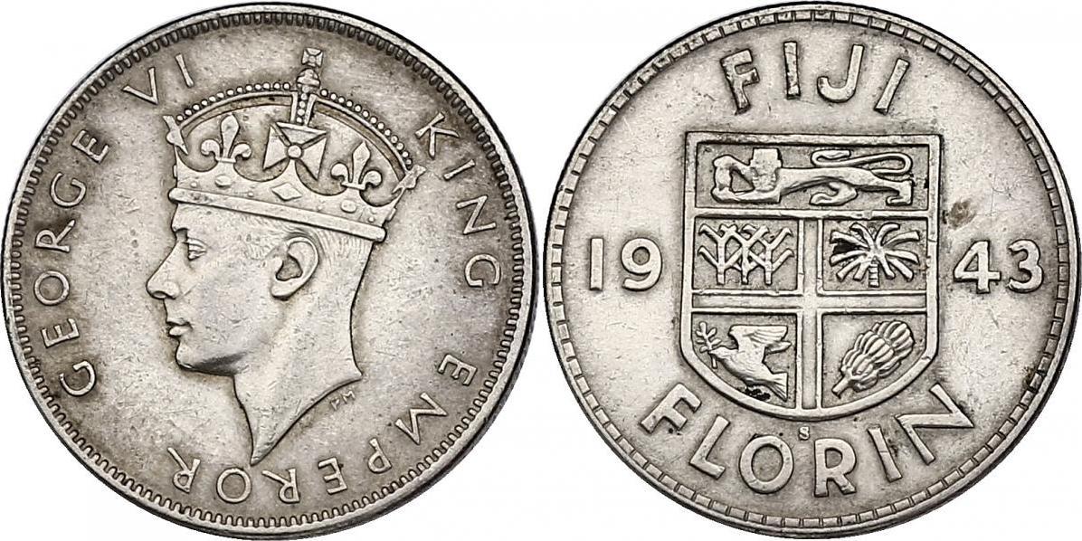 Florin 1943 Fiji Georg VI. (1936 - 1952) vz/f.vz