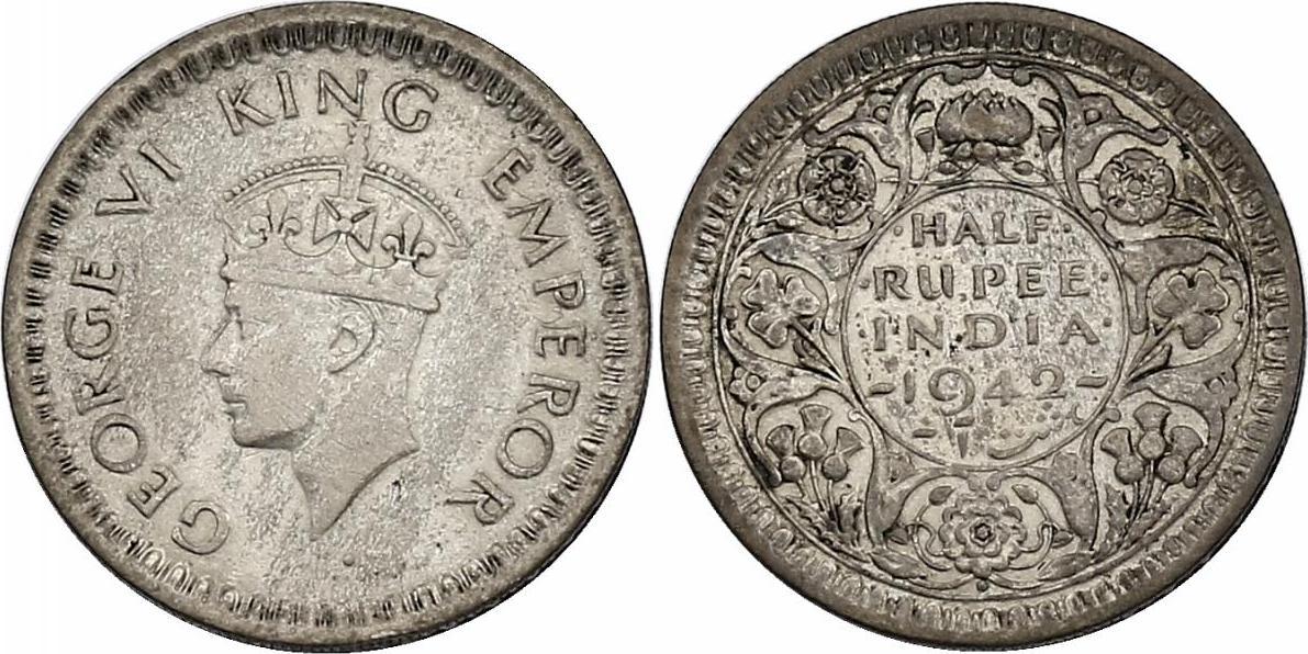 1/2 Rupie 1942 Bombay Indien Georg VI. (1936 - 1952) ss/vz