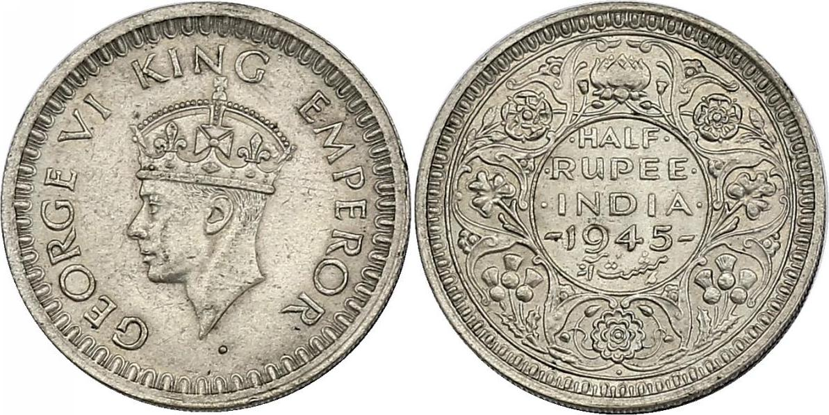 1/2 Rupie 1945 Bombay Indien Georg VI. (1936 - 1952) stgl.