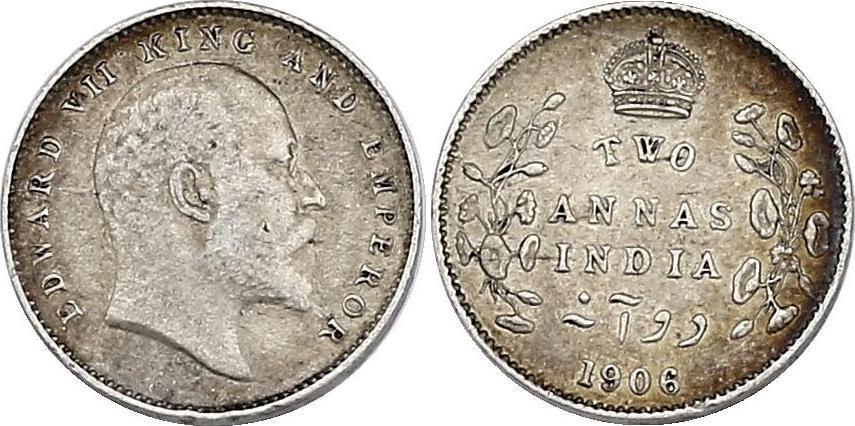2 Annas 1906 Calcutta Indien Edward VII. (1901 - 1910) ss-vz