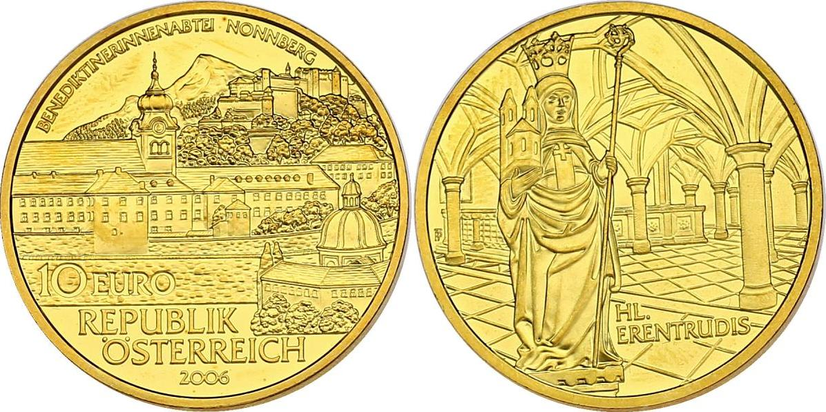 10 Euro 2006 Österreich Stifte und Klöster in Österreich - Benediktinerabtei Nonnberg stgl. vergoldet