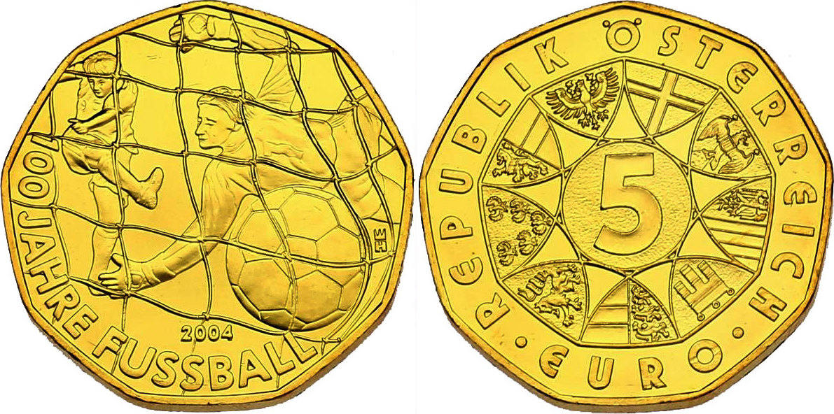 5 Euro 2004 Österreich 100 Jahre Fußball in Österreich stgl. vergoldet (mit Zertifikat)