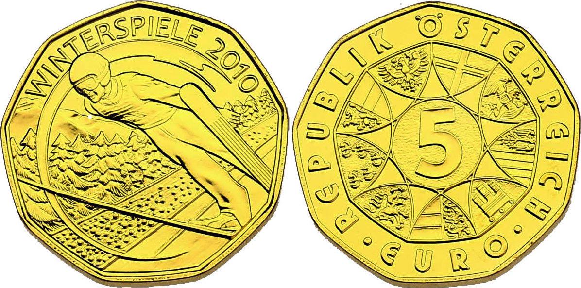 5 Euro 2010 Österreich Winterspiele 2010 - Skispringer stgl. vergoldet (mit Zertifikat)