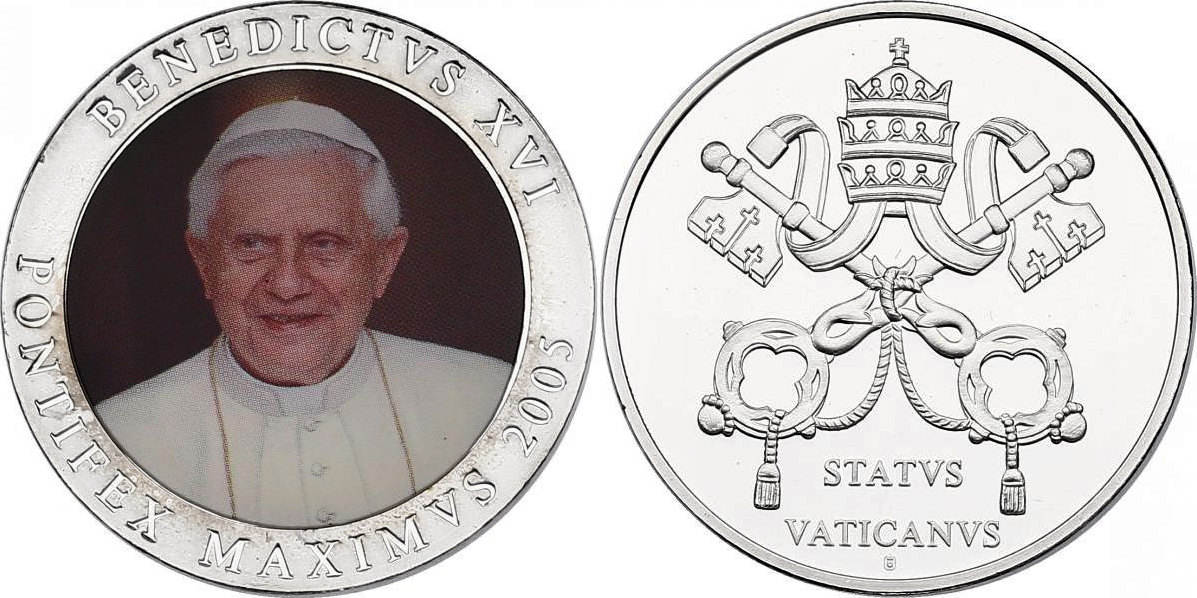 Medaille 2005 Vatikan Papst Benedikt Xvi Pp Mit Farbmotiv Ma Shops