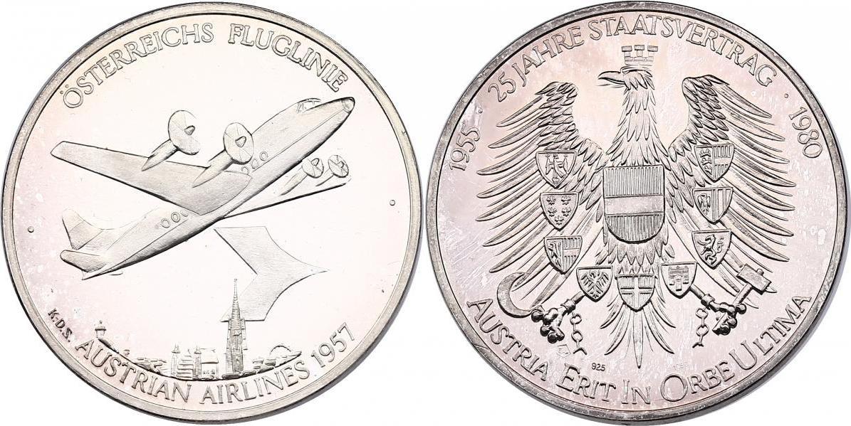 Ag-Medaille 1980 Österreich - II. Republik Österreichische Fluglinie - Austrian Airlines 1957 (Flugzeug) unc., Patina