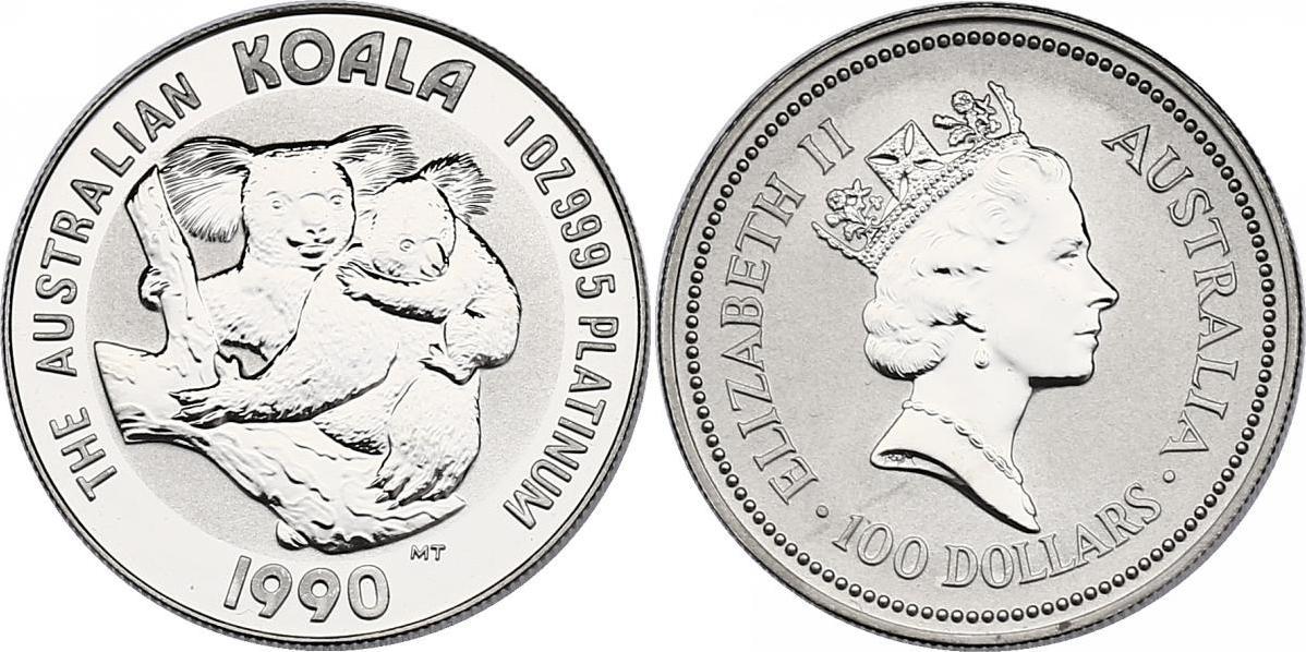 "100 Dollar 1990 Australien ""Koala mit Baby auf Baum"" unc. in Hartplastikhülle"