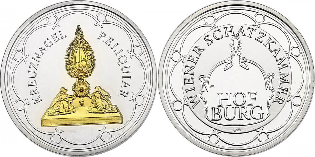 Ag-Medaille o.J. Österreich Serie Hofburg - Wiener Schatzkammer - Kreuznagel Reliquiar unc. mit Goldapplikation