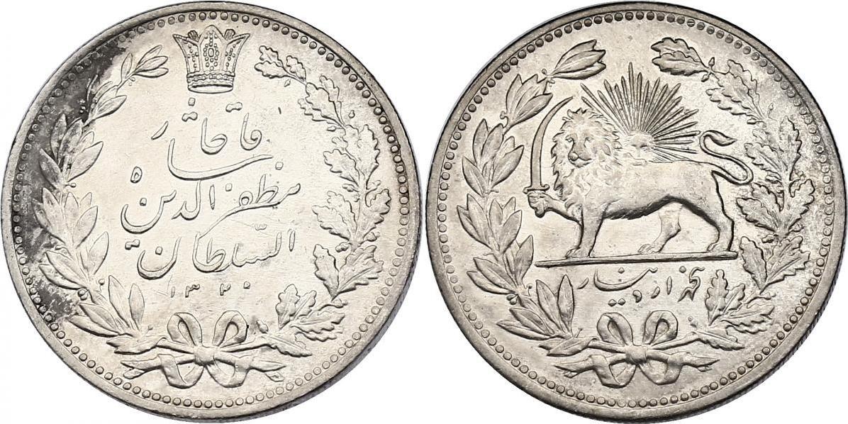 5000 Dinar 1902 Iran Muzaffar (1896 - 1907) vz-stgl.