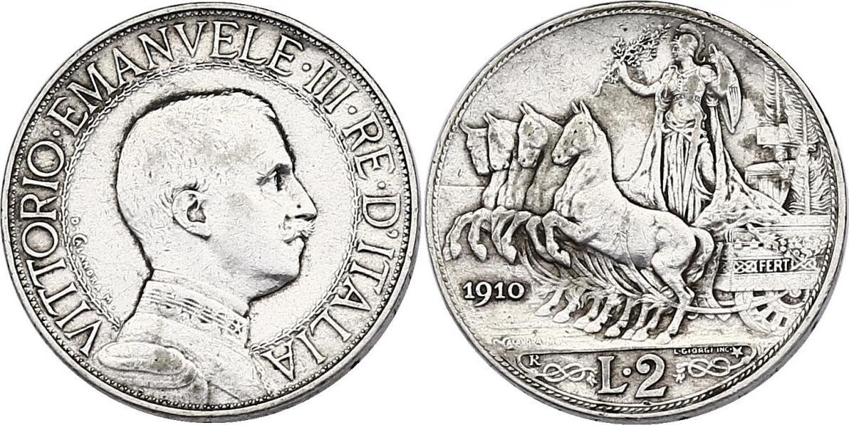 2 Lire 1910 R Italien Viktor Emanuel III. (1900 - 1946) ss+
