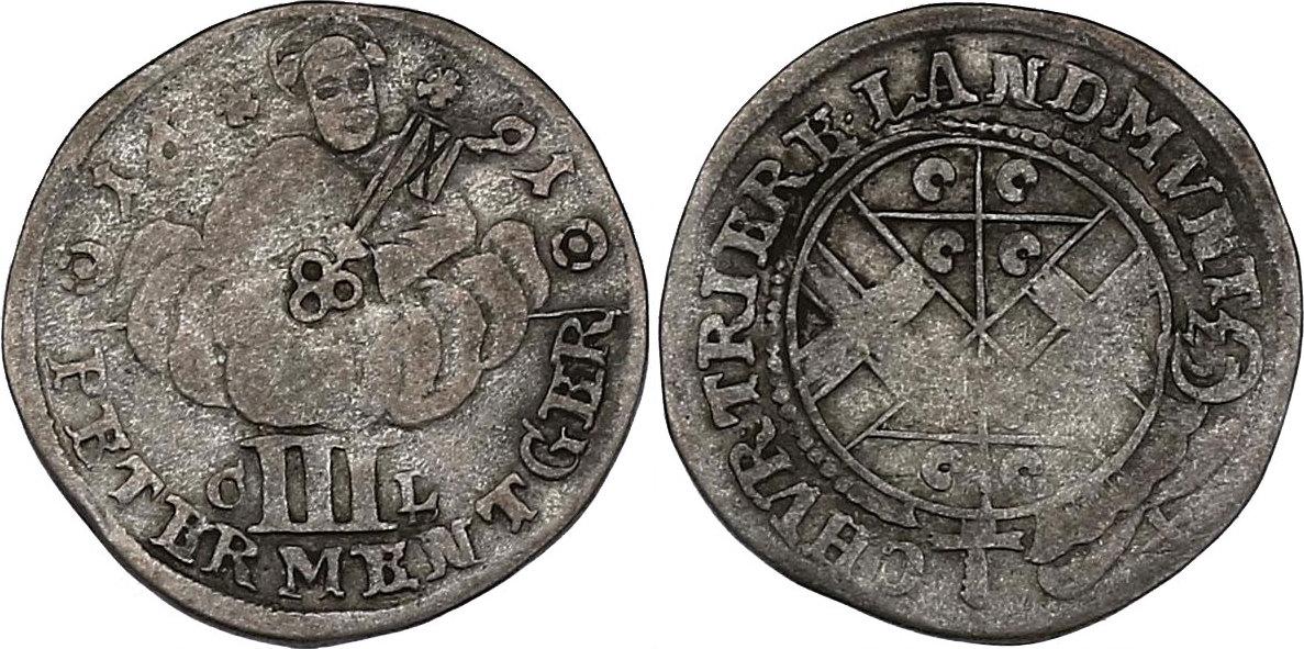 III Petermenger 1691 CL Deutschland - Trier Johann Hugo von Orsbeck (1676 - 1711) ss