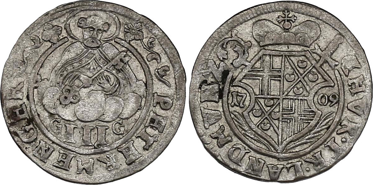 III Petermenger 1709 GG Deutschland - Trier Johann Hugo von Orsbeck (1676 - 1711) vz, R