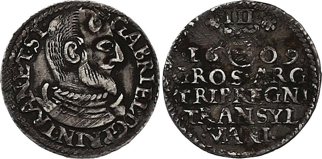 3 Groschen 1609 Siebenbürgen Gabriel Báthory (1608 - 1613) f.vz, R