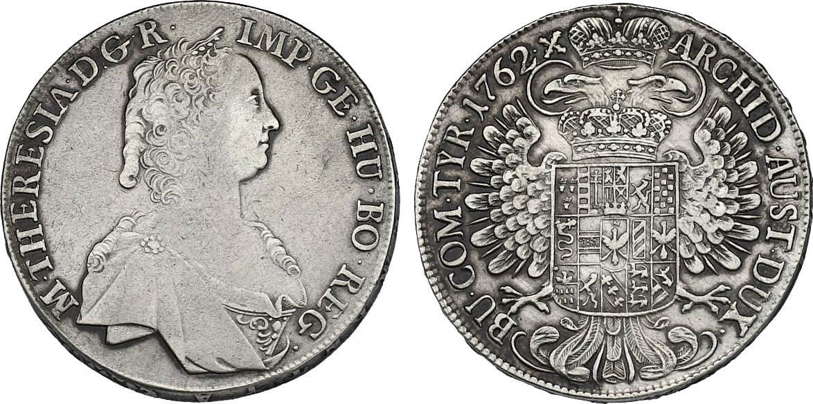 Taler 1762 Hall RDR Maria Theresia (1740 - 1780) ss/f.vz