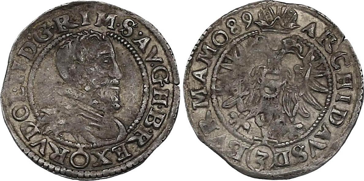 Groschen (15)89 Wien RDR Rudolph II. (1576 - 1612) ss-vz, R