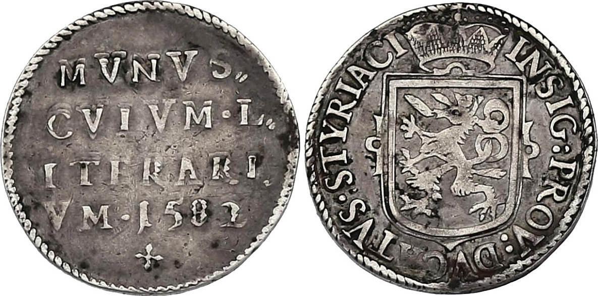 Ag-Medaille von Hans Zwigott 1582 Graz RDR Erzherzog Karl 1564 - 1590 Schulprämie der Grazer Stiftsschule ss-vz, RR