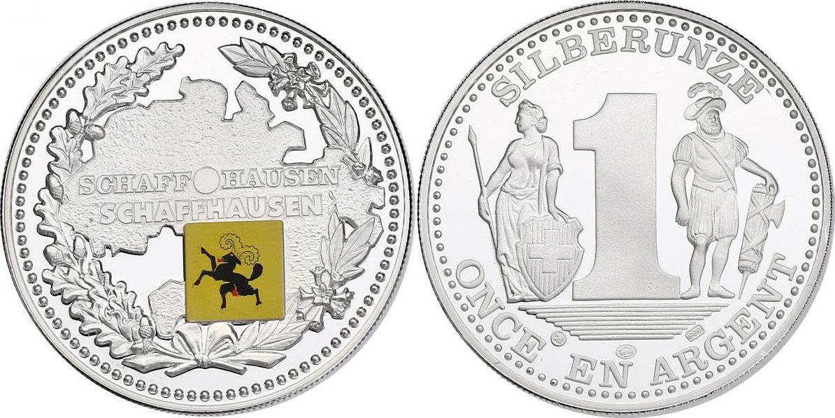 """Ag-Medaille o.J. Schweiz Serie """"Schweizer Kantone"""" - Schaffhausen (Schaffhausen) PP mit Farbapplikation"""