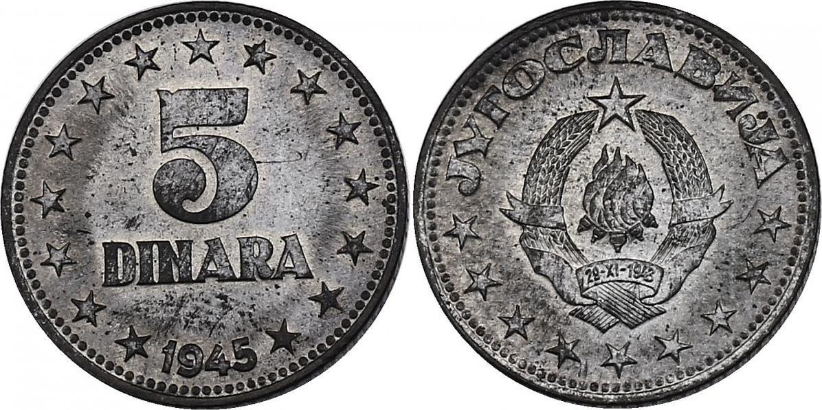 5 Dinara 1945 Jugoslawien stgl.