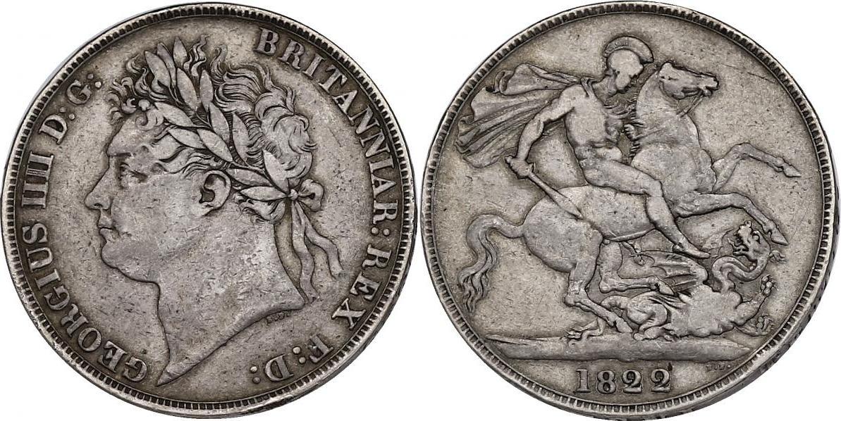 Crown 1822 (Jahr 3) Großbritannien Georg IV. (1820 - 1830) ss+