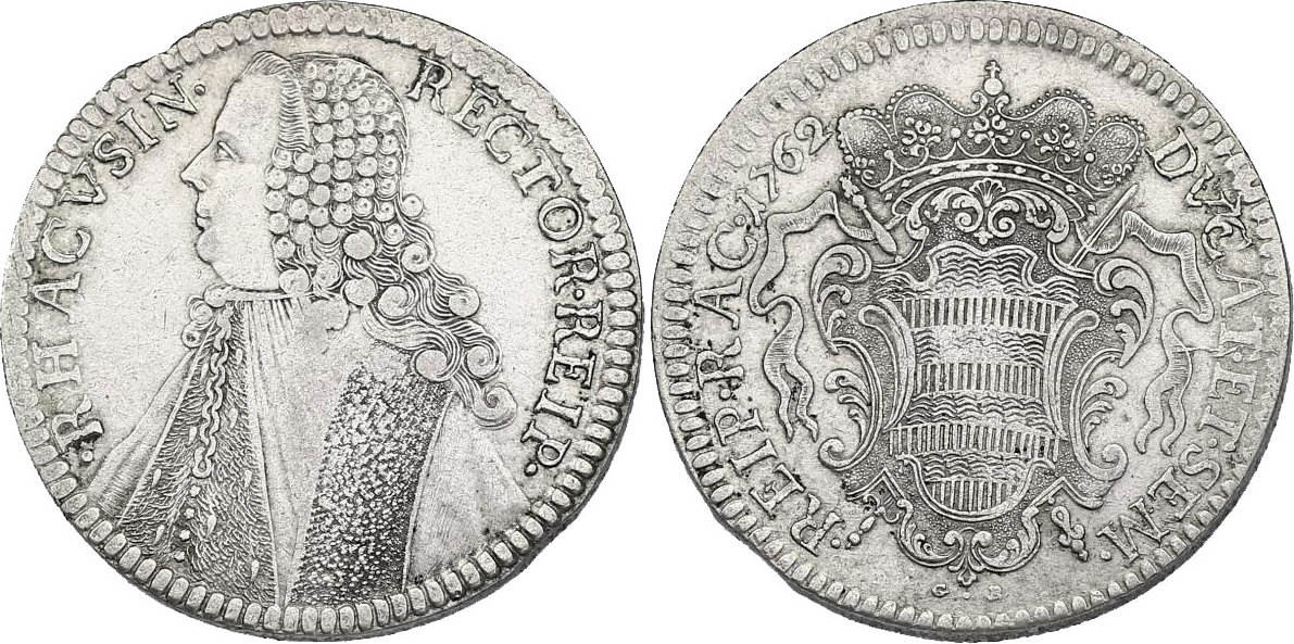 Taler (Rektoratstaler) 1762 G-N Ragusa min. Schrötlingsfehler am Rand, ss-vz