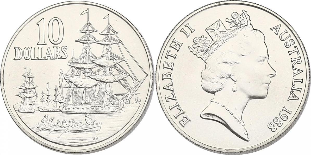 "10 Dollar 1988 Australien ""Segelschiffe"" unc."