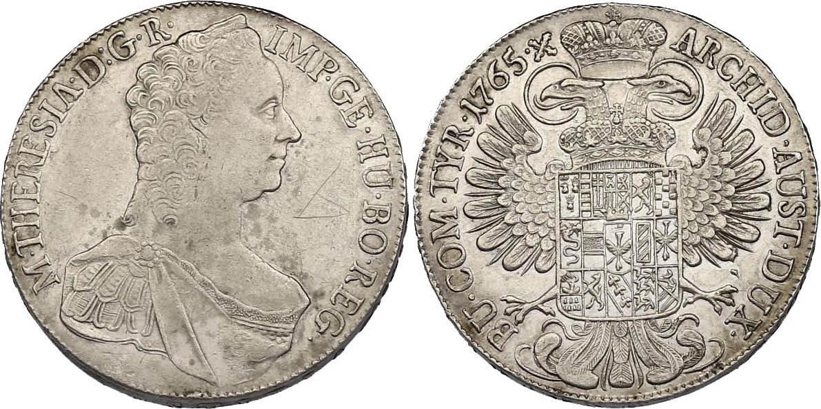 Taler 1765 Hall RDR Maria Theresia (1740 - 1780) Av. kl. Kratzer, ss+/vz