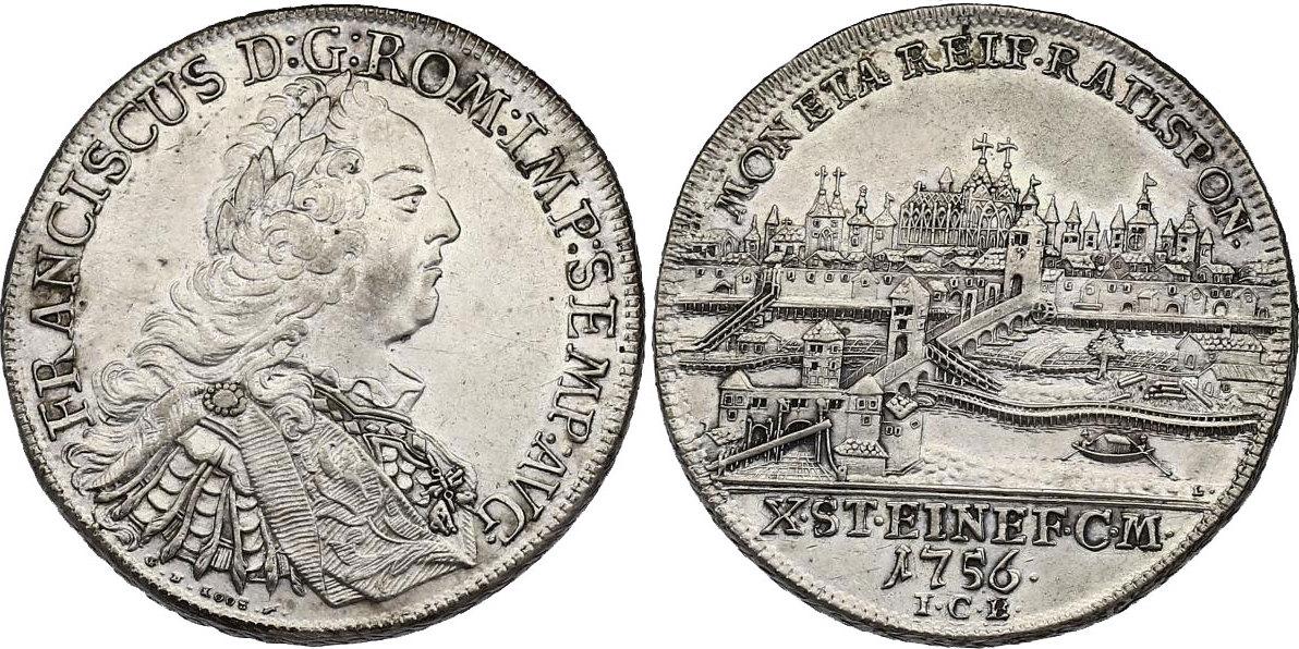 Taler 1756 ICB Deutschland - Regensburg Franz I. (1745 - 1765) vz